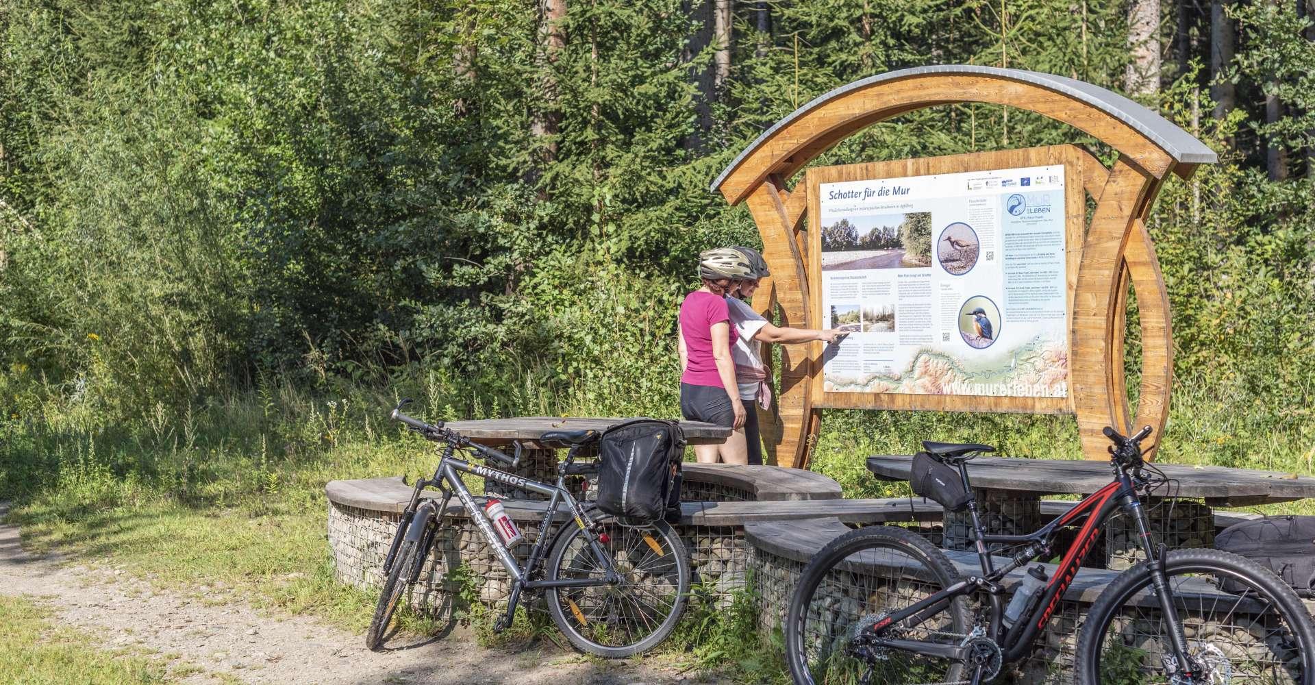 <p>Murradweg - im Murtal wird bei der Fahrt mit dem Fahrrad gerne gerastet. </p> Copyright: